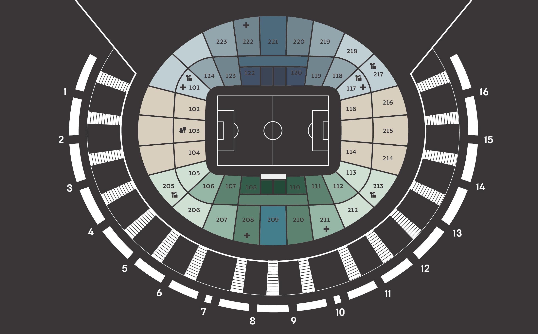 Схема мест стадиона Краснодар