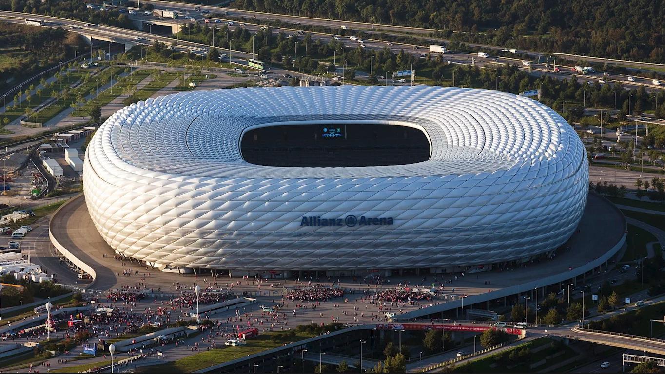 Обои альянц арена, мюнхен, подсветка, германия, стадион. Города