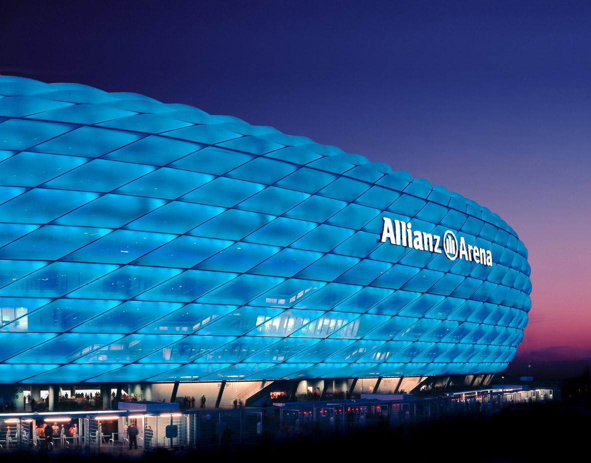 Обои альянц арена, мюнхен, подсветка, германия, стадион. Города foto 8