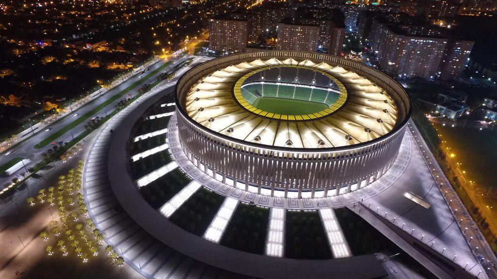 Стадион Краснодар ночью